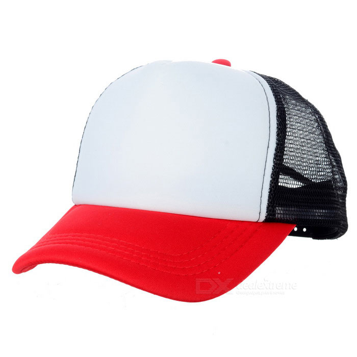Classic Nylon Mesh Baseball Hat Cricket Cap - Black + White + Red