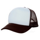 Classic Nylon Mesh Baseball Hat Cricket Cap - Brown + White