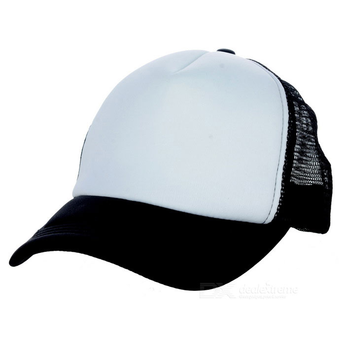 Classic Nylon Mesh Baseball Hat Cricket Cap - Black + White