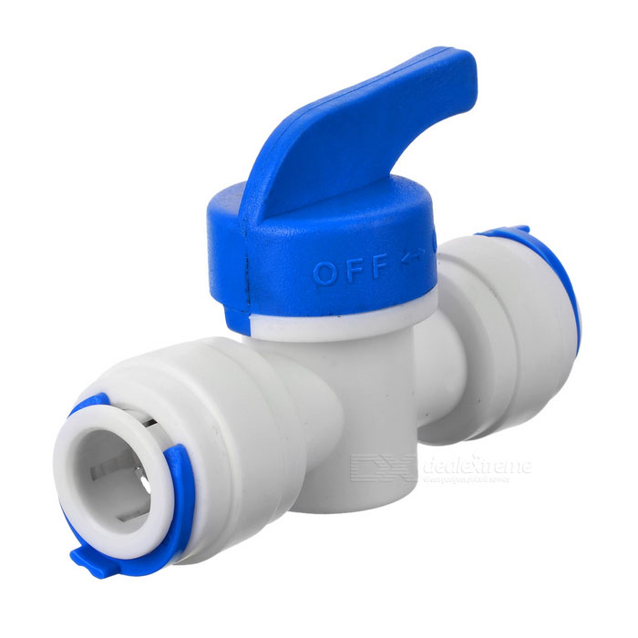 "3/8"" PP PE Pipe Ball Valve Switch - White + Blue"