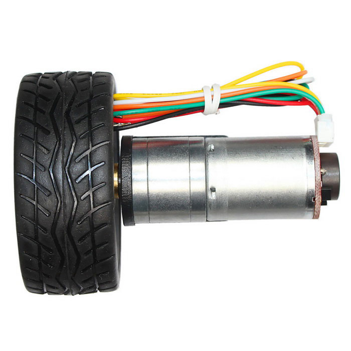 12v 350rpm dc gear motor with hall encoder silver free for Dc gear motor with encoder