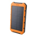 SUNGZU 8000mAh 5V 1A / 2A Dual USB Solar Power Bank - Black + Orange