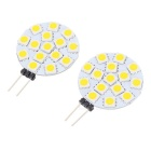 G4 2W Warm White Light 15-SMD 5050 LED Round Module (2 PCS)