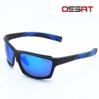 OSSAT 99358 UV400 Protection Sunglasses - Black + Blue + Blue REVO