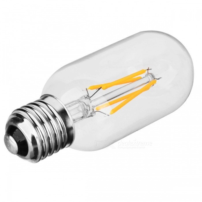 JRLED-T45-E27 4W Warm White COB Light 4-LED Bulb (AC110-220V)E27<br>Color BINWarm WhiteMaterialGlass + LED + metal bottom feetForm  ColorTransparent + SilverQuantity1 DX.PCM.Model.AttributeModel.UnitPower4WRated VoltageOthers,AC 110~220 DX.PCM.Model.AttributeModel.UnitConnector TypeE27Chip BrandEpistarEmitter TypeCOBTotal Emitters4Theoretical Lumens600 DX.PCM.Model.AttributeModel.UnitActual Lumens300~600 DX.PCM.Model.AttributeModel.UnitColor Temperature3000KDimmableNoBeam Angle360 DX.PCM.Model.AttributeModel.UnitOther FeaturesEnergy saving; T45 Style.Packing List1 x LED Filament Bulb<br>