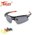Panlees D548 3 Lenses Interchangeable Sports Sunglasses - Black + Red