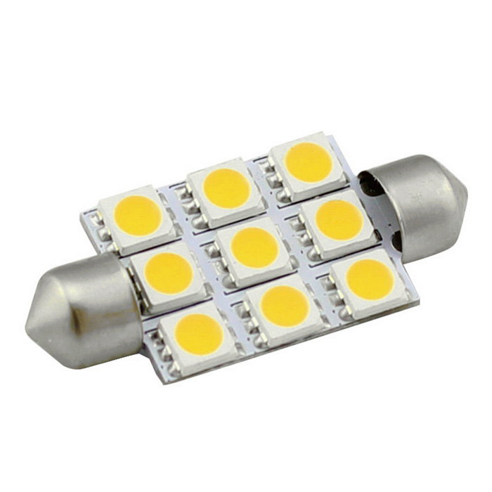 HONSCO feston 41mm 2W 150lm 9-5050 SMD LED blanc chaud voiture dôme lampe