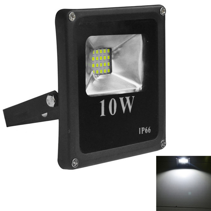 Jiawen 10W 900lm IP66 Cold White LED Floodlight - Black (AC 220V)