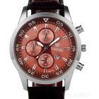 Valia Men's Quartz Watch w/ 3 Decorative Sub-dials - Brown + Silver