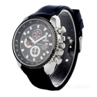 Valia Men's Quartz Watch w/ 3 Decorative Sub-dials - Black + Silver