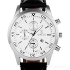 Valia Men's Quartz Watch w/ 3 Decorative Sub-dials - Black + White