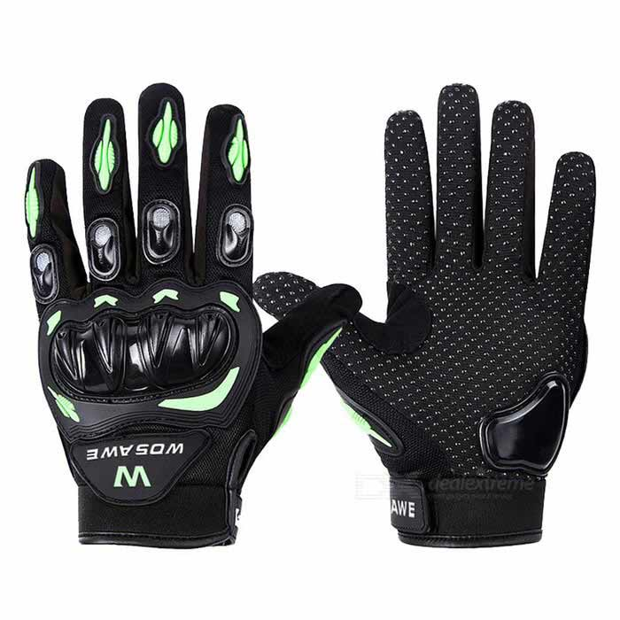 WOSAWE ST-015-G-0XL Motorcycle Racing Gloves - Black + Green (XL)