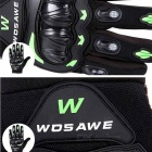 WOSAWE BST-015-G-00L Motorcycle Racing Gloves - Black+Green(L)