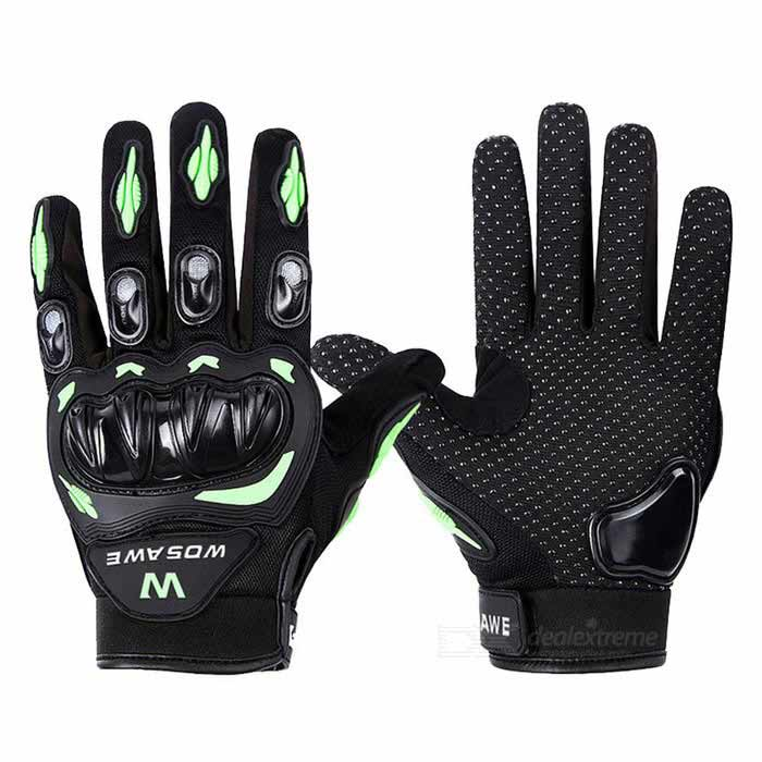 WOSAWE BST-015-G-00M Motorcycle Racing Gloves - Black+Green(M)