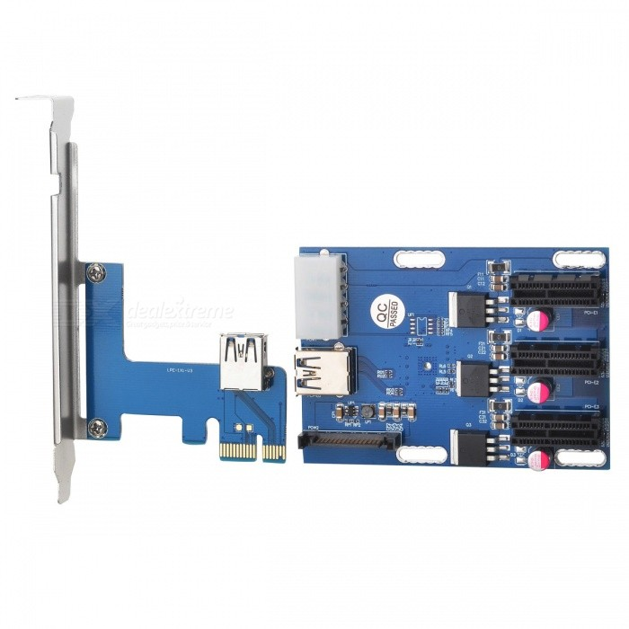 PCI-E 1 to 3PCI-E Adapter Card - Dark Blue + Silver