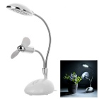 2-in-1 USB 13-LED White Light Desktop Lamp + 2-Blade Fan Combo - White