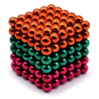 5mm Puzzle Magnetic Beads Toy - Orange + Green + Dark Pink (216PCS)