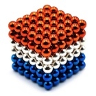 5mm Puzzle Magnetic Beads Toy - Orange + White + Blue (216PCS)