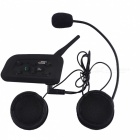 6 Riders 1200m Motorcycle Bluetooth Helmet Intercom - Black (EU Plug)
