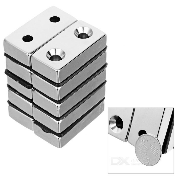 40*20*10mm Rectangular NdFeB Magnet w/ Dual Sink Holes - Silver(10PCS)