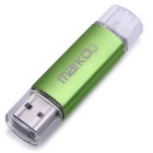 MaiKou Dual Port 32GB OTG USB 2.0 U Flash Disk - Green