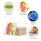 Sea Horse Shaped Puzzle Wooden Cartoon Toy for Children - Multicolored