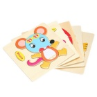 Mouse Shaped Puzzle Wooden Cartoon Toy for Children - Multicolored
