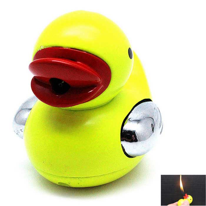 Criativa Duck Shaped Gas Butano bonito Isqueiro - Yellow + Red