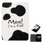 Milk Cow Pattern PU Case for Kindle Paperwhite 1/2/3 - White + Black