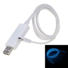 V8 Blue Flash Light Micro USB Quick Charging Data Cable - White (75cm)