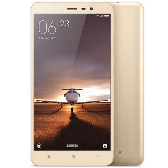 Xiaomi Redmi Note 3 Qualcomm Snapdragon 650 5.5 - Gold + TranslucentAndroid Phones<br>Form  ColorGolden + Yellow + Multi-ColoredRAM2GBROM16GBBrandXiaomiModelRedmi Note 3Quantity1 DX.PCM.Model.AttributeModel.UnitMaterialABS + IPSShade Of ColorGoldTypeBrand NewPower AdapterUS PlugHousing Case MaterialMetalNetwork Type2G,3G,4GBand Details2G: GSM B2/3/8 3G: WCDMA B1/2/5/8 3G: TD-SCDMA B34/39 4G: TD-LTE B38/39/40/41 4G: FDD-LTE B1/3/7Data TransferGPRS,LTENetwork ConversationOne-Party Conversation OnlyWLAN Wi-Fi 802.11 a,b,g,n,acSIM Card TypeMicro SIMSIM Card Quantity2Network StandbyDual Network StandbyGPSYesInfrared PortYesBluetooth VersionOthers,V4.1Operating SystemOthers,MIUI 7CPU ProcessorNapdragon 650CPU Core QuantityHexa-CoreLanguageSimplified Chinese, Traditional Chinese, German, Indonesian, Malay, English, Spanish, French, Italian, Hungarian, Dutch, Portuguese, Romanian, Vietnamese, Russian, Turkish, Greek, Hebrew, Arabic, Thai, KoreanGPUImagination PowerVR G6200Available MemoryN/AMax. Expansion SupportedDoes not support capacity expansionSize Range5.5 inches &amp; OverTouch Screen TypeCapacitive ScreenScreen Resolution1920*1080Screen Size ( inches)5.5Camera Pixel13.0MPFront Camera Pixels5.0 DX.PCM.Model.AttributeModel.UnitFlashYesTouch FocusYesTalk Time9~12 DX.PCM.Model.AttributeModel.UnitStandby Time264 DX.PCM.Model.AttributeModel.UnitBattery Capacity4000 DX.PCM.Model.AttributeModel.UnitBattery ModeNon-removablefeaturesWi-Fi,GPS,BluetoothSensorG-sensor,Proximity,CompassWaterproof LevelIPX0 (Not Protected)Shock-proofNoI/O InterfaceMicro USB,3.5mmUSBMicro USB v2.0SoftwareCalculator, memo, calendar, notepad, radio, alarm clock, calendar, tape recorder, scene model, topic schemaFormat SupportedMP3/WAV/OGG/MID/AMR/MP4/3GP/M4A/RM/RMVB/WMV/JPEG/PNG/GIF/BMP/JAVAYesTV TunerNoWireless ChargingNoPacking List1 * Cellphone1 * Data cable (90cm)1 * US plug power adapter (100~240V)<br>