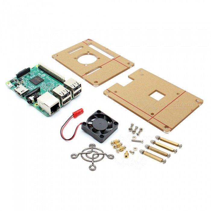 3-in-1 3 Model B + V34 Acrylic Case + Cooling Fan Kit for Raspberry Pi
