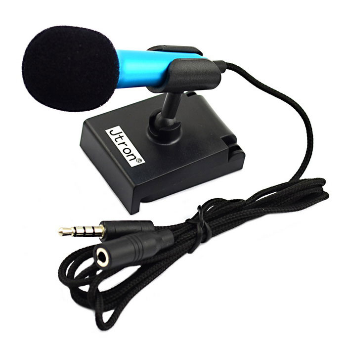 Jtron 3.5mm Stylish Mini Mobile Stereo Microphone - Black + Blue