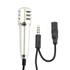Jtron 3.5mm Stylish Mini Mobile Stereo Microphone - Black + Silver