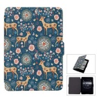 Sika Deer Pattern PU Case for Kindle Paperwhite 1/2/3 - Green + Pink