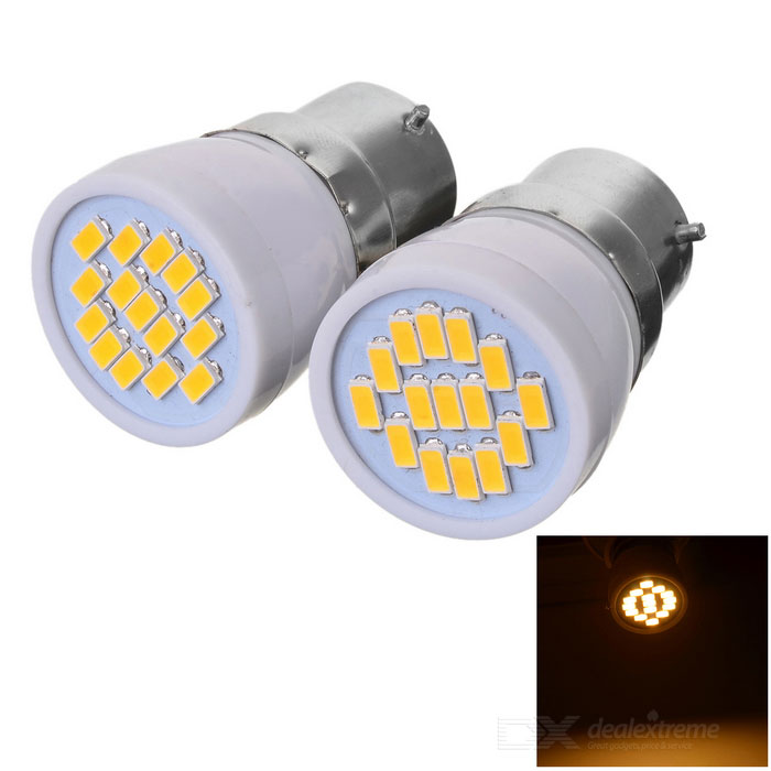 B22 3W LED Bulb Lamp Warm White Light 15-SMD 5730 (AC 220V / 2PCS)