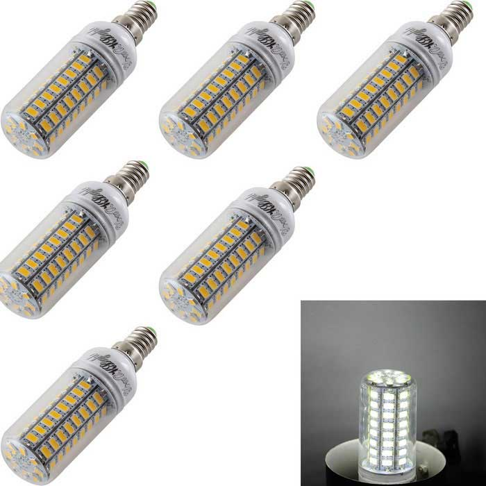 Lámparas del bulbo YouOKLight E14 4.5W LED de maíz blanco frío 72-SMD 5730 (6PCS)