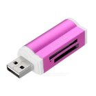 4-in-1 USB 2.0 TF + SD + MS + M2 Card Reader - White + Deep Pink