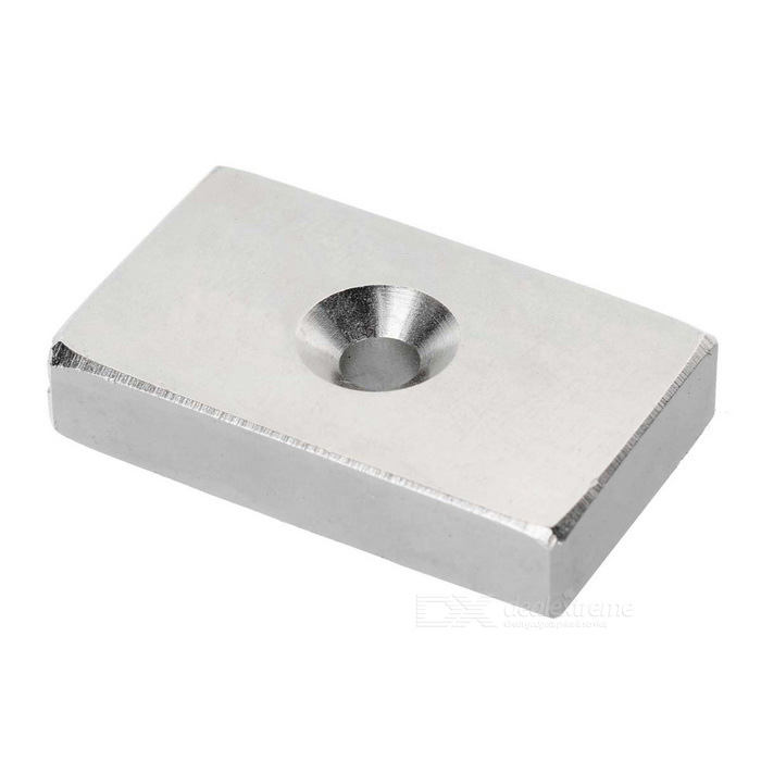 50*30*10mm Retangular NdFeB Magnet with Hole - Silver