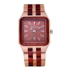 SKONE Men's Square Dial Sandalwood Wristband Watch w/ Calendar - Red