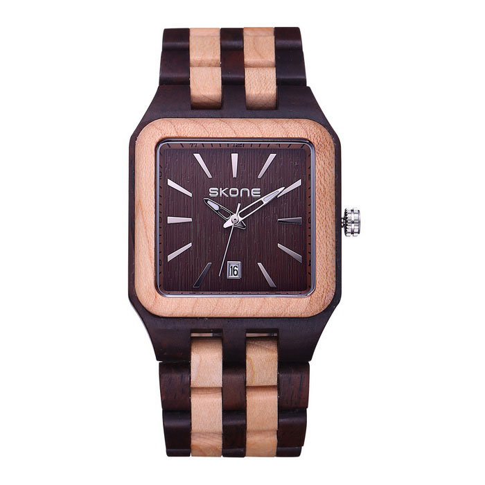SKONE Men's Square Dial Sandalwood Wristband Watch w/ Calendar - Brown