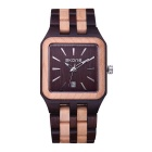 SKONE Men's Square Dial Sandalwood Wristband Watch w/ Calendar - Black