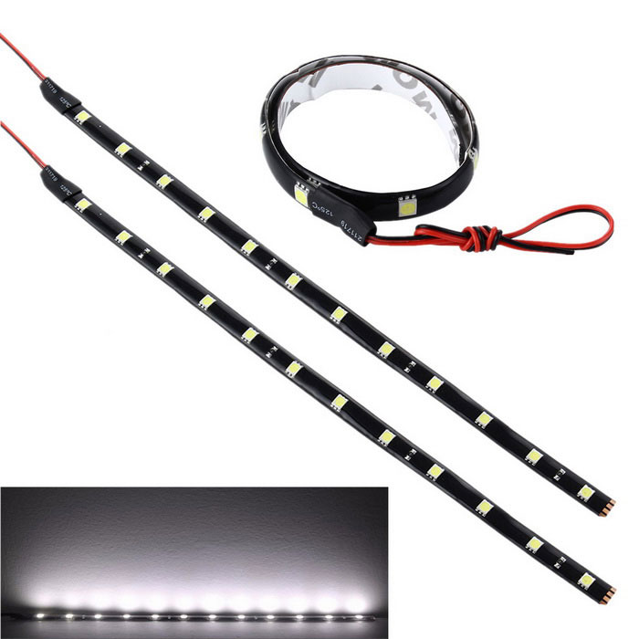 YouOKLight YK1495 5W LED Car DRL Light Strips - White (2PCS / 30cm)