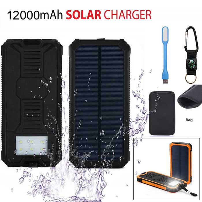 "SUNGZU ""12000mAh"" Dual USB Solar Power Bank Bateria - Black"