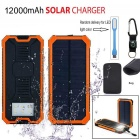 Li-polymer Battery Solar Power Bank w/ LED Flashlight + Compass + Carabiner + Cable
