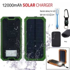 Li-Polymer Solar Power Bank w / lanterna LED + Compass + mosquetão + Cable