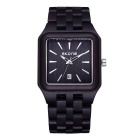 SKONE Men's Square Dial Ebony Wristband Watch w/ Calendar - Black