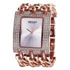 WEIQIN Women's Square Dial Rhinestone Case Watch - Rose Gold + Silver
