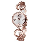 WEIQIN Women's Fashion Hollow-out Bracelet Watch - Rose Gold + White