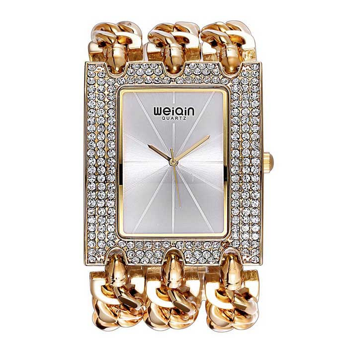 WEIQIN Women's Square Dial Rhinestone Case Watch - Gold + Silver